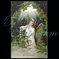Antique 1909 Embossed Christmas Post Card, A Merry Christmas