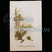 Antique Embossed Christmas Post Card, A Merry Christmas