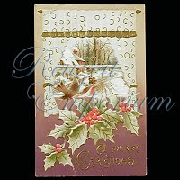 Antique 1916 Embossed Christmas Post Card, A Merry Christmas