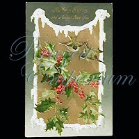 Antique 1908 Embossed Christmas Post Card, A Merry Christmas & a Bright New Year