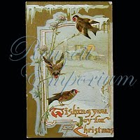 Antique Embossed Christmas Post Card, Wishing you Joy for Christmas