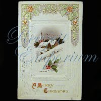 Antique 1914 Embossed Christmas Post Card, Merry Christmas