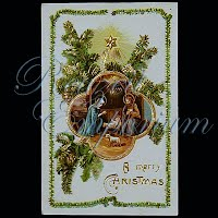 Antique Religious Christmas Post Card, A Merry Christmas