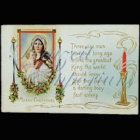 Antique Embossed Christmas Post Card, Three wise men traveled