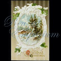 Antique 1910 Embossed Christmas Post Card, Christmas Greetings