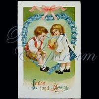 Antique 1913 Embossed Valentine Post Card, Antique 1913 Embossed Valentine Post Card Postcard, Antique 1913 Embossed Valentine PostCard, Love's Fond Message
