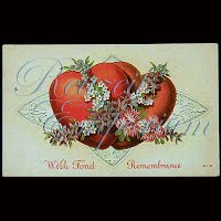 Antique 1914 Valentine Post Card, Antique 1914 Valentine PostCard, With Fond Remembrance