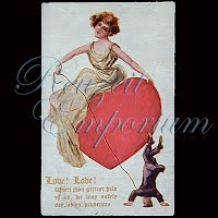 Antique 1913 Embossed Valentine Post Card, Love! Love!