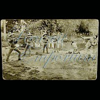 Real Photo Antique Postcard, Mexican Revolution, Carranza Soldiers Shooting Prisoners