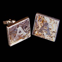 Antique Cuff Links, Silver and Mother of Pearl, Handcrafted