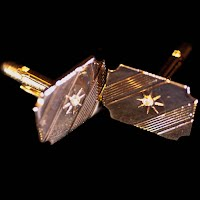 Vintage Cuff Links, Gold with Diamond Handcrafted