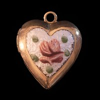 Vintage Miniature Guilloche Gold Locket with Enamel Rose Charm