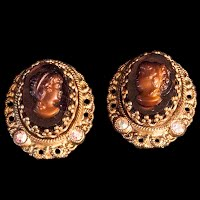 Antique Cameo Dress Clips