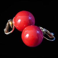 Vintage Red Clip On Earrings