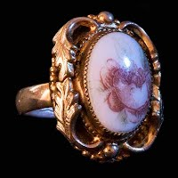 Vintage Ring, Rose Cameo Whiting Davis Ring