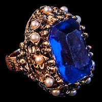 Vintage Pearls and Blue Stone Ring