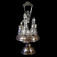 Antique Caster Set, silver with 5 bottles