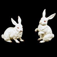 Vintage Lefton White Rabbits, 1950's red label Japan