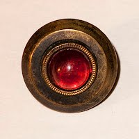 Antique Metal with red glass center Button
