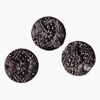 Antique Black Carved Flower Buttons