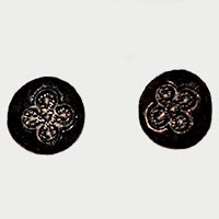 Antique Black Carved Clover Buttons