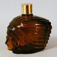 Vintage Amber Indian Head Bottle