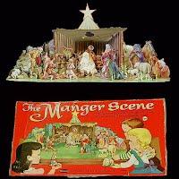 Vintage Manger Cardboard Scene, 1959