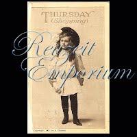 Antique Advertising Postcard, Thursday Shopping 1907
