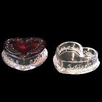 Antique Vintage Heart Ruby Stained Dresser Vanity Set