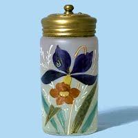 Antique Vintage Hand Painted Powder Jar