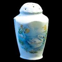Antique Porcelain Hand Painted Swan Salt Shaker