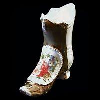 Antique Porcelain Painted Boot Shoe