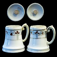 Antique Porcelain Hand Painted Salt and Pepper Shakers