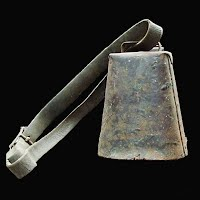 Antique Metal Cow Bell with leather strap