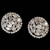 Antique Weiss Rhinestone Round Dress Clips
