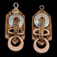 Vintage Metal and Enamel Egyptain Earrings