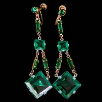 Vintage Chech Glass Beads and Metal Dangle Earrings