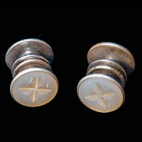 Antique Snap Link Mother of Pearl and silver Cuff Links