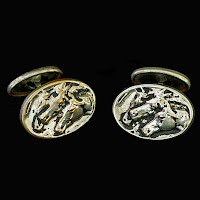 Antique Silver Horse Head Cuff Links