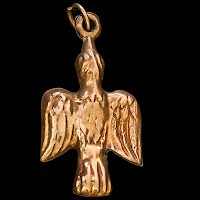 Antique Gold Bird or Dove Charm or Watch Fob