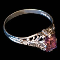 Antique Baby Ring, 14K White gold, purple stone