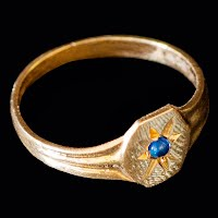 Antique Baby Ring, 14K gold, blue stone