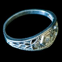 Antique Baby Ring, 14K white gold, blue stone