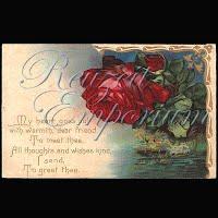 Antique Rose Flower Postcard, 1910