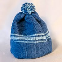 Vintage Hand Knitted Blue Striped Hat