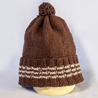 Vintage Hand Knitted Brown Striped Hat