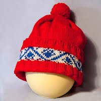 Vintage Hand Knitted Red, White and Blue Hat