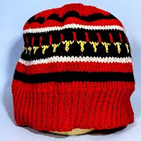 Vintage Hand Knitted Red and Black Striped Hat