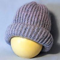 Vintage Hand Knit Violet Angora Hat