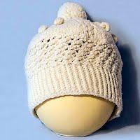 Vintage Hand Knit Ecru Popcorn Hat